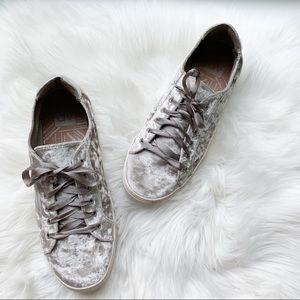 DV Dolce Vita Crushed Velvet Silver Sneakers